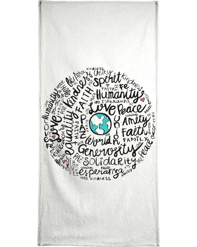 World Positive Messages Bath Towel
