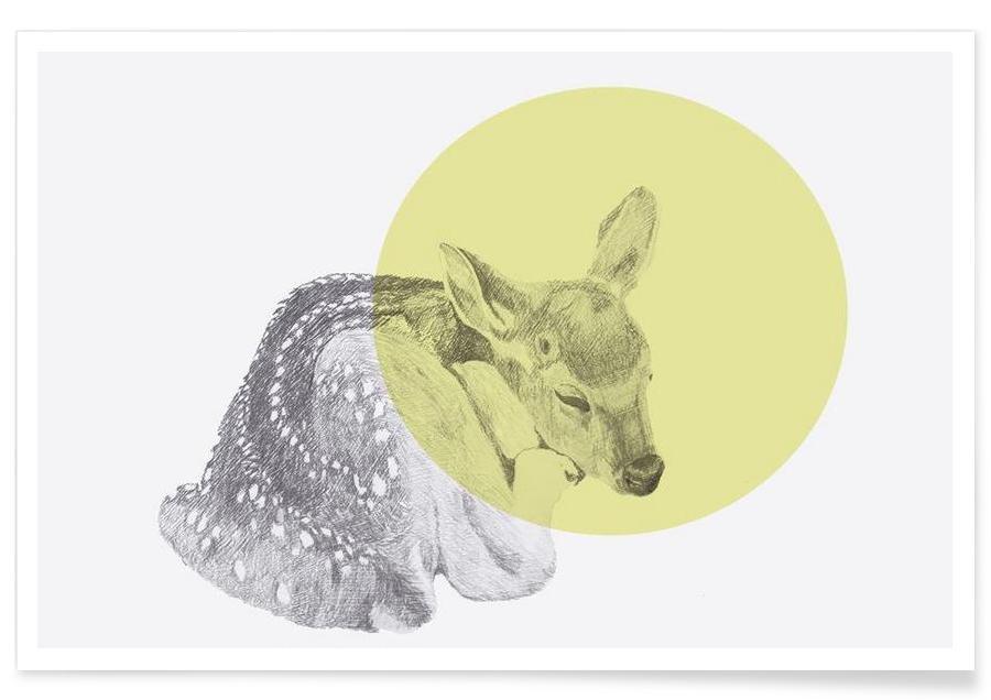 Cerfs, Cerf endormi - Dessin affiche