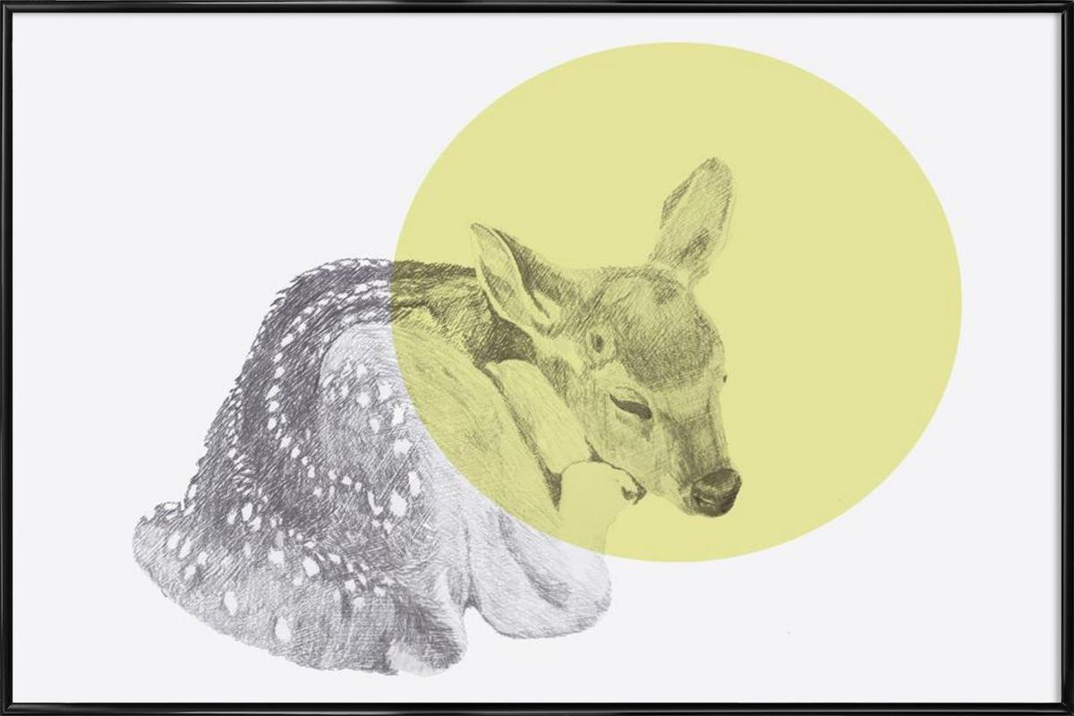 Sleeping Deer -Bild mit Kunststoffrahmen
