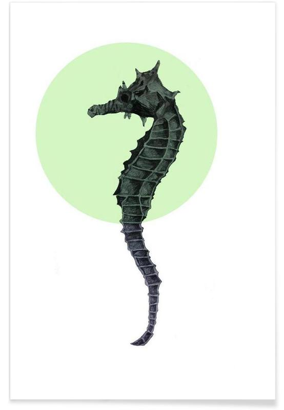 Søheste, Seahorse Drawing Plakat