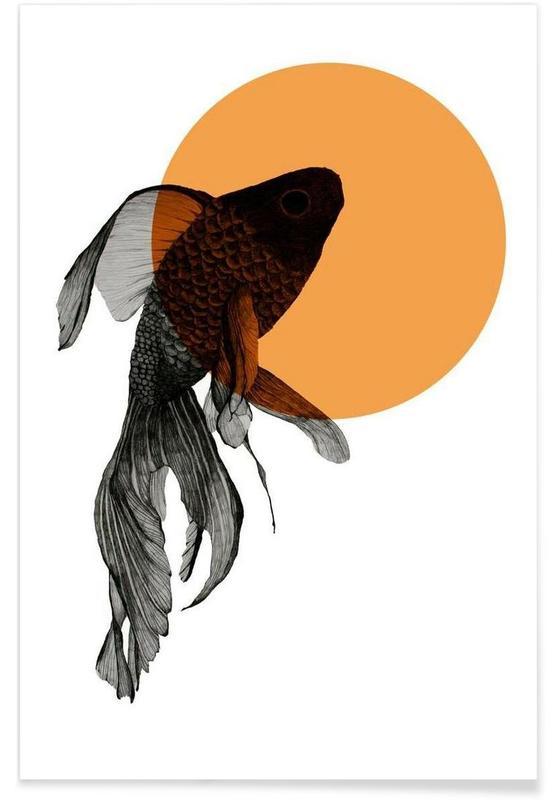 Poissons, Poisson rouge - Dessin affiche