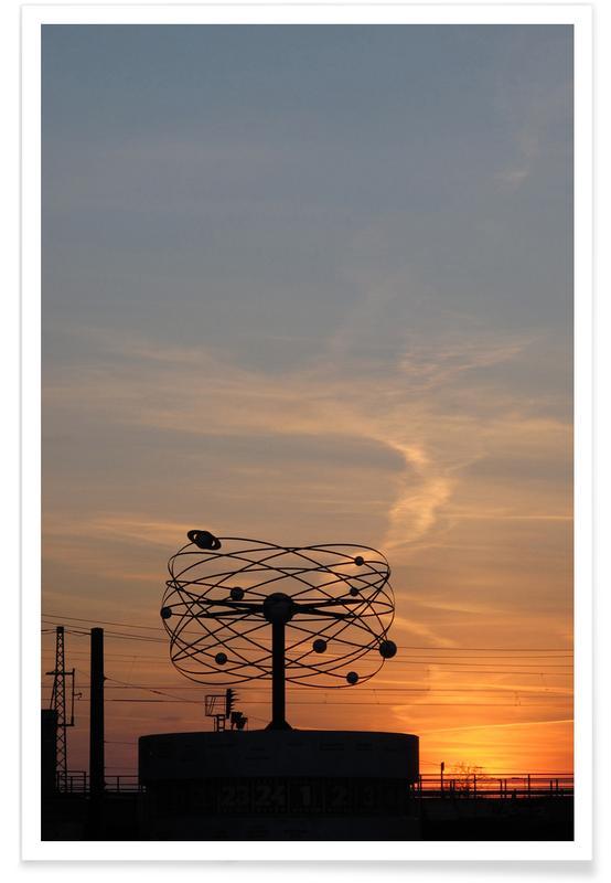 Berlin, Architectural Details, Sunsets, Weltzeituhr Poster