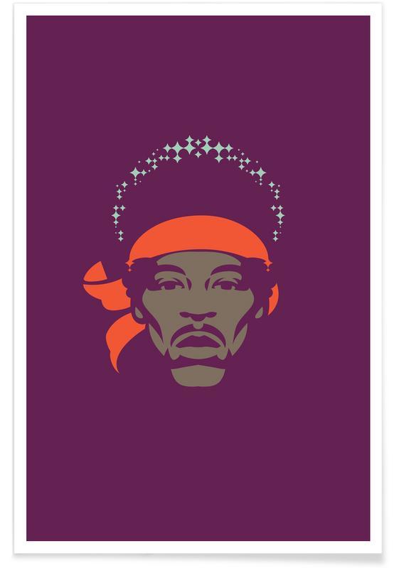 Jimi Hendrix, Rock, Jimi Hendrix - Minimaliste affiche