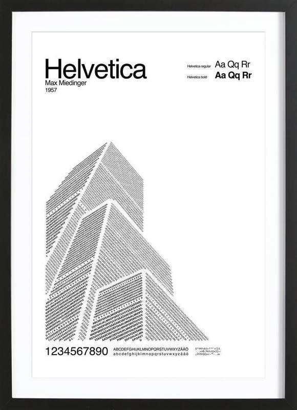 Helvetica -Bild mit Holzrahmen