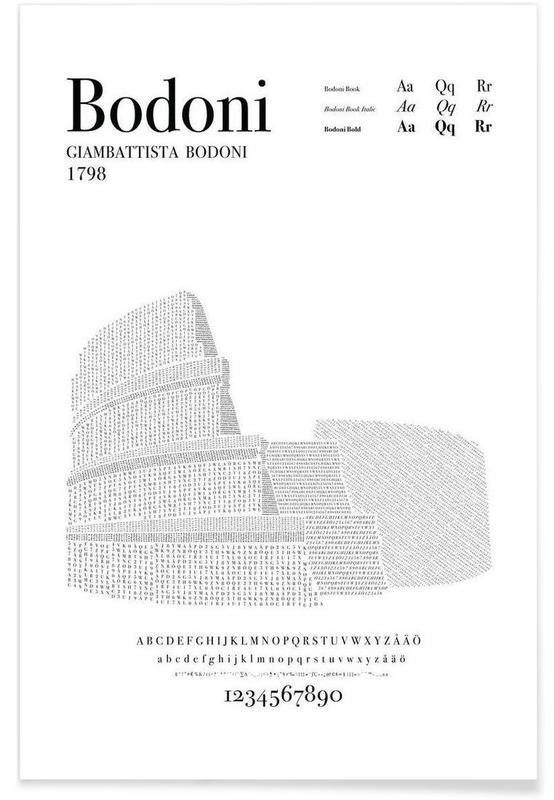 Alphabet et lettres, Noir & blanc, Bodoni affiche