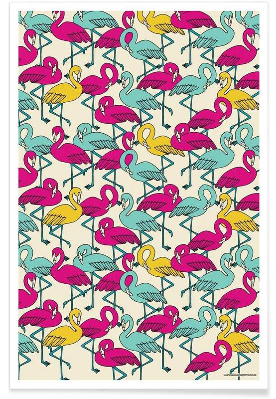 Flamants roses, Wrapping Paper Flamingos affiche
