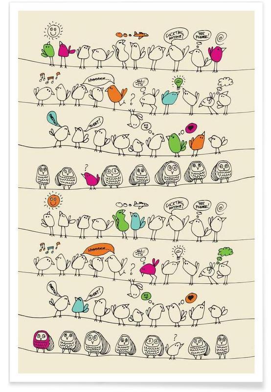 Art pour enfants, Birds on wire affiche