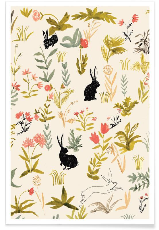 Lapins, Art pour enfants, Pâques, Black Rabbits affiche