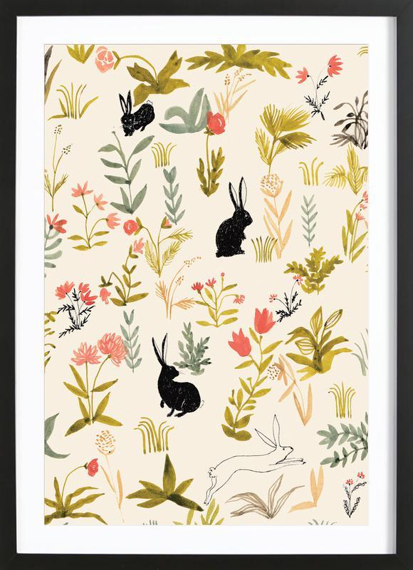 Black Rabbits -Bild mit Holzrahmen