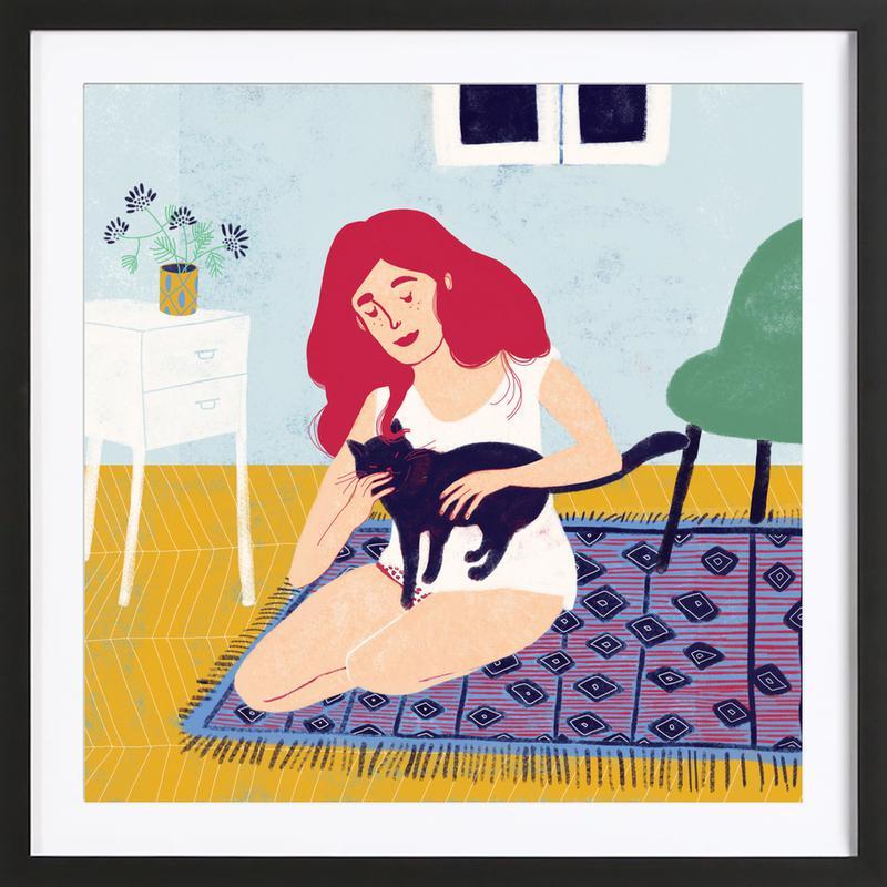 Room With A Cat affiche sous cadre en bois