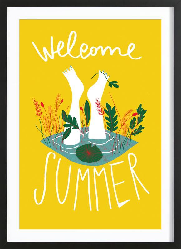 Welcome Summer affiche sous cadre en bois