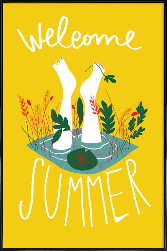 Welcome Summer -Bild mit Kunststoffrahmen