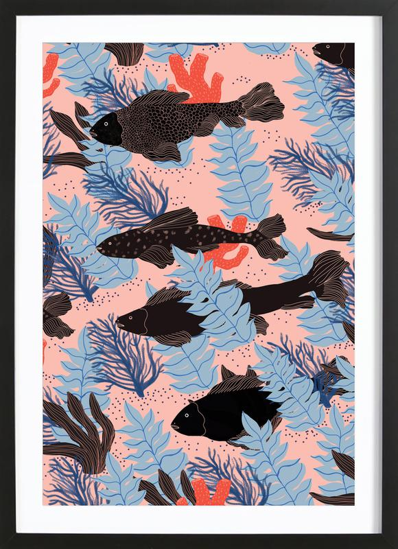 Fishes affiche sous cadre en bois