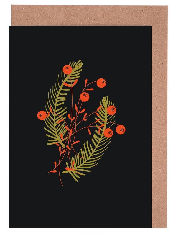 Weihnachten, Blätter & Pflanzen, Gold -Grußkarten-Set