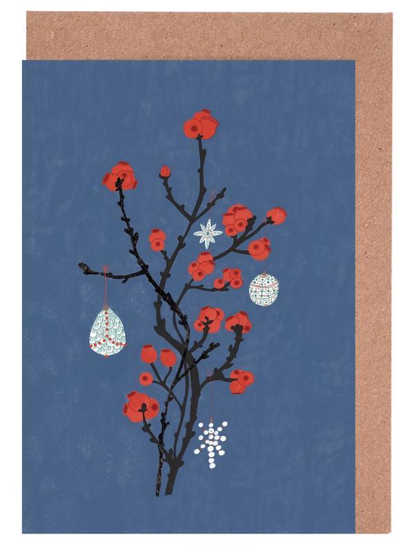 Weihnachten, Blätter & Pflanzen, Tannenbaum -Grußkarten-Set