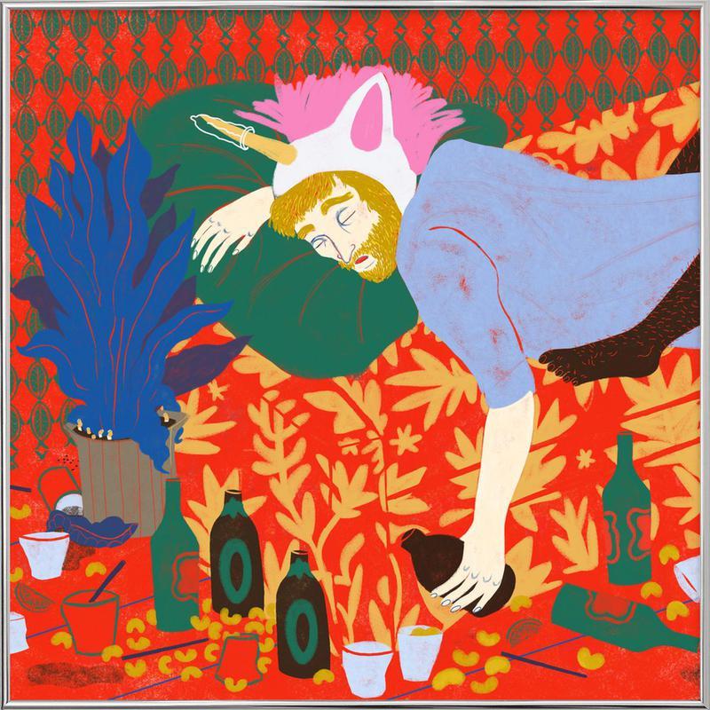 Party Red Unicorn -Poster im Alurahmen