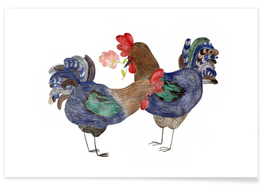 Funny, Nursery & Art for Kids, Roosters in Love Poster