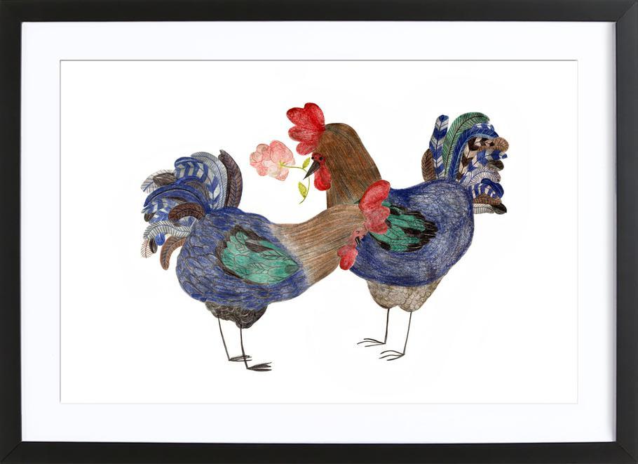 Roosters in Love -Bild mit Holzrahmen