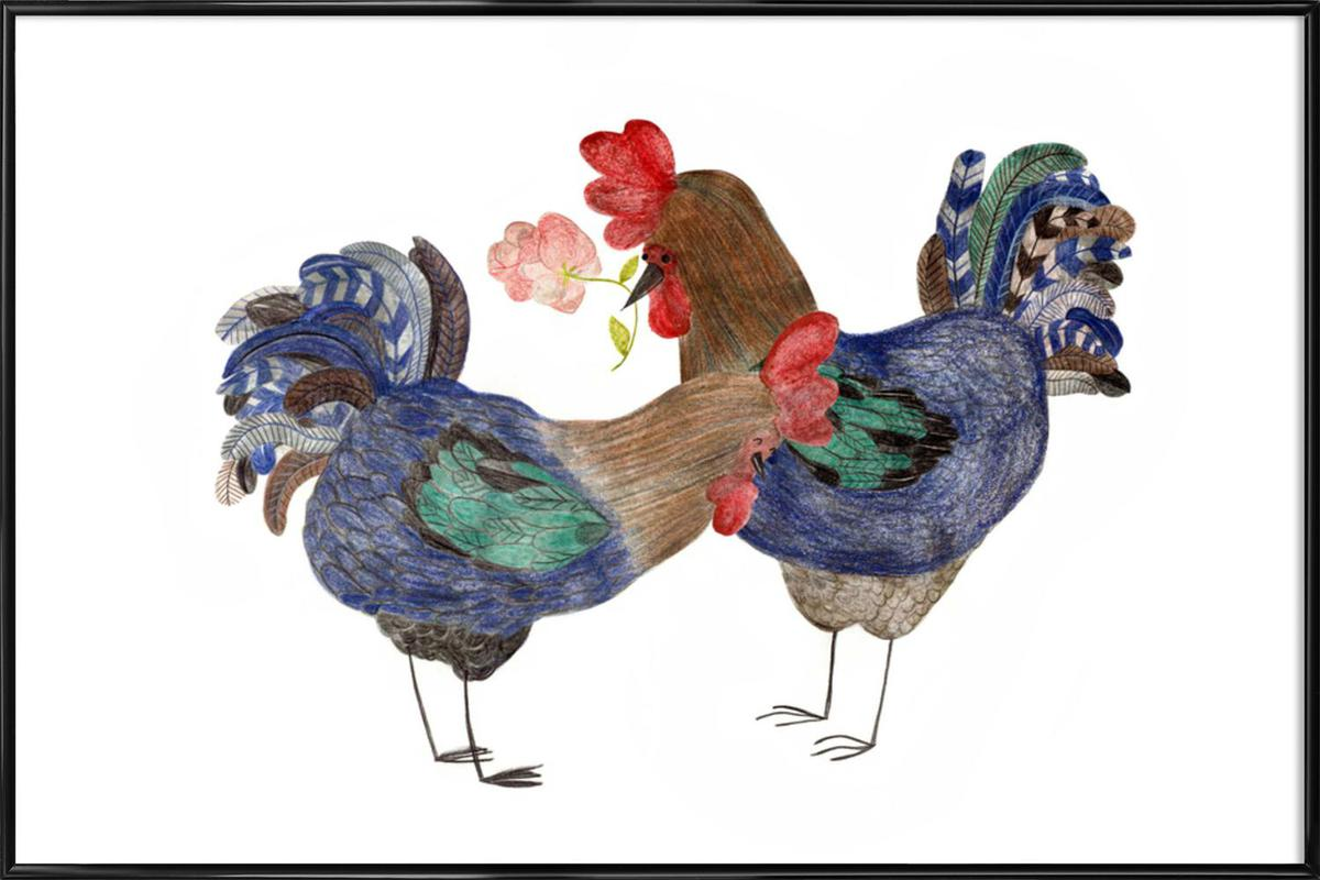 Roosters in Love -Bild mit Kunststoffrahmen
