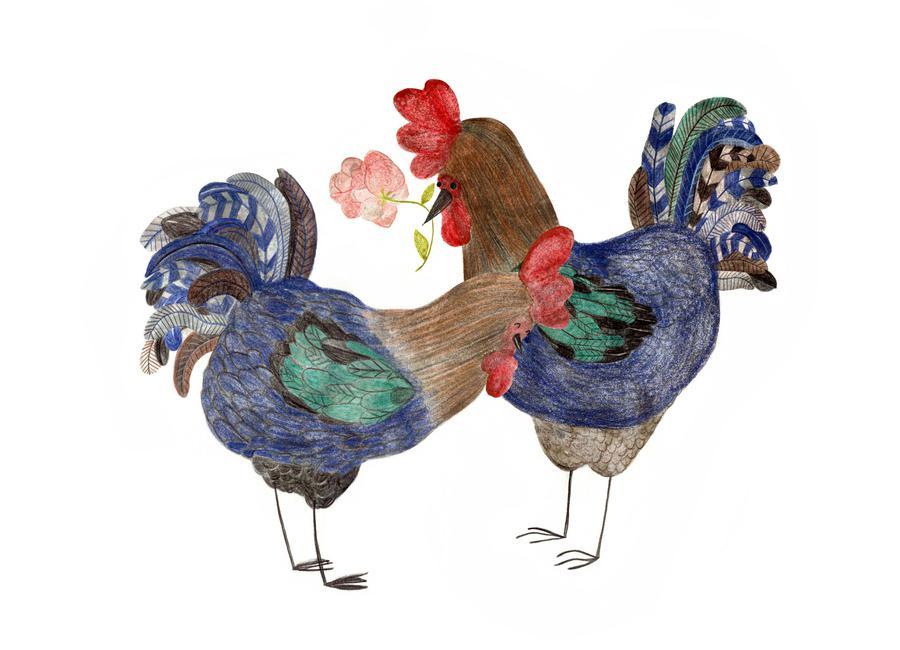 Roosters in Love canvas doek