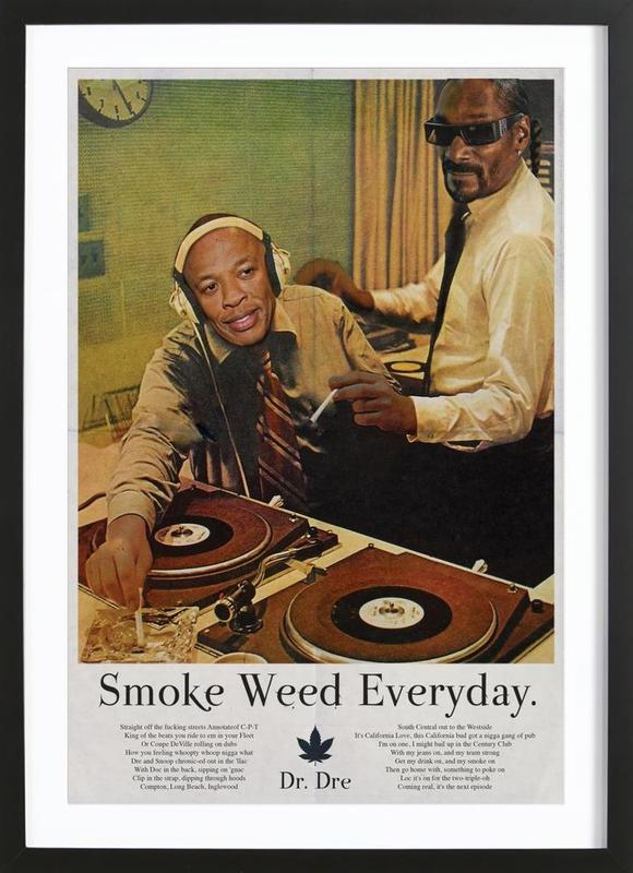 Smoke Weed Every Day affiche sous cadre en bois