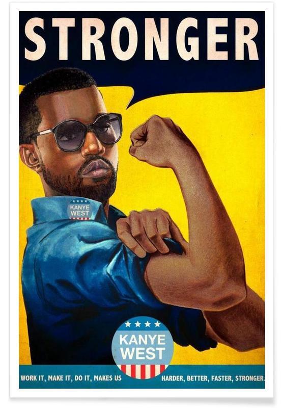 Rétro, Humour, Kanye West, Pop Art, Stronger #2 affiche