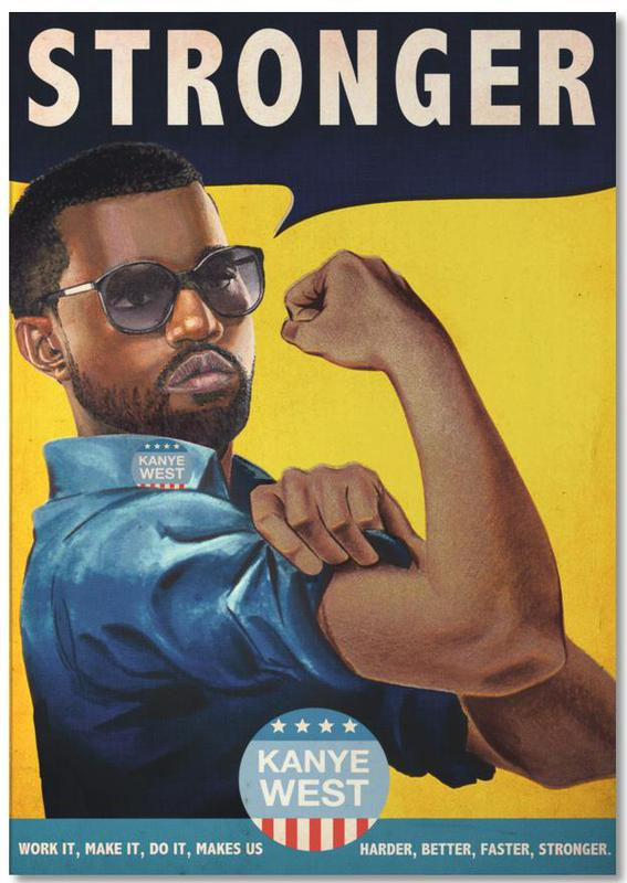 Kanye West, Pop Art, Rétro, Humour, Stronger #2 bloc-notes