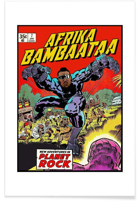 Pop Art, Vintage, Hip-Hop & Rap, Afrika Bambaataa affiche