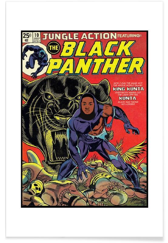 Vintage, Pop Art, Motivation, Black Panther affiche