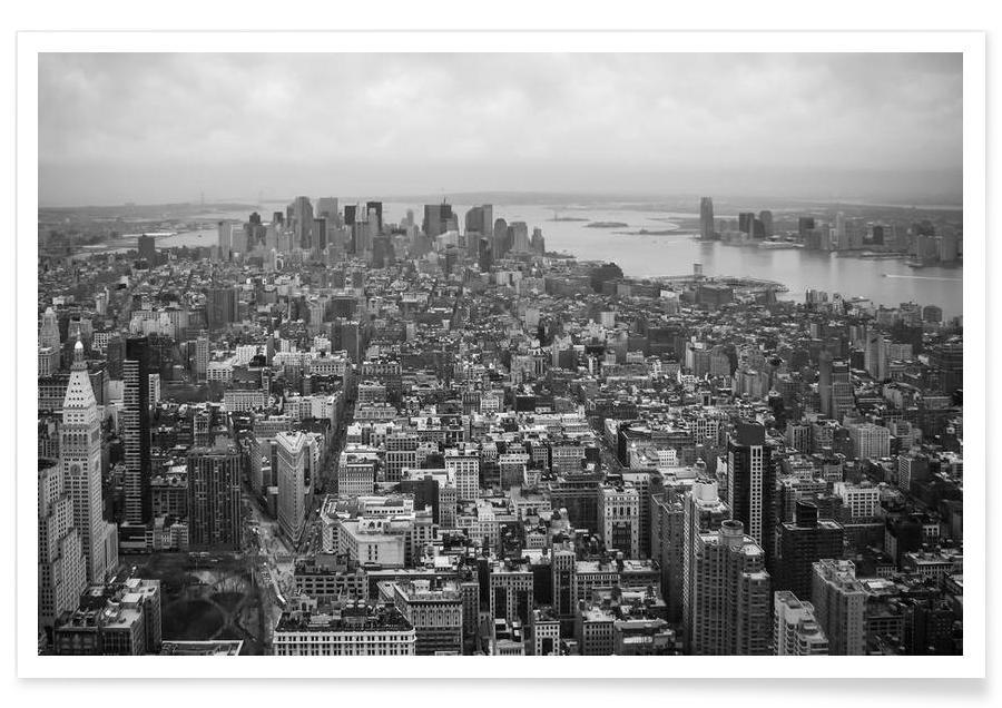 Noir & blanc, Skylines, New York, Towards Liberty affiche