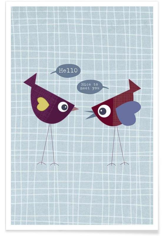 Art pour enfants, Hello nice to meet you bird affiche
