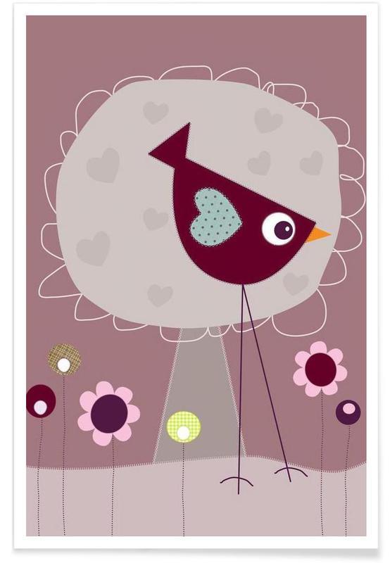 Art pour enfants, Lovely Bird Front of a House affiche