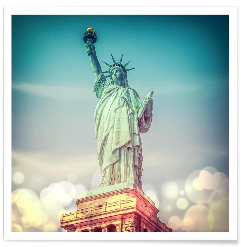 New York, Monuments et vues, Vintage Statue of Liberty affiche