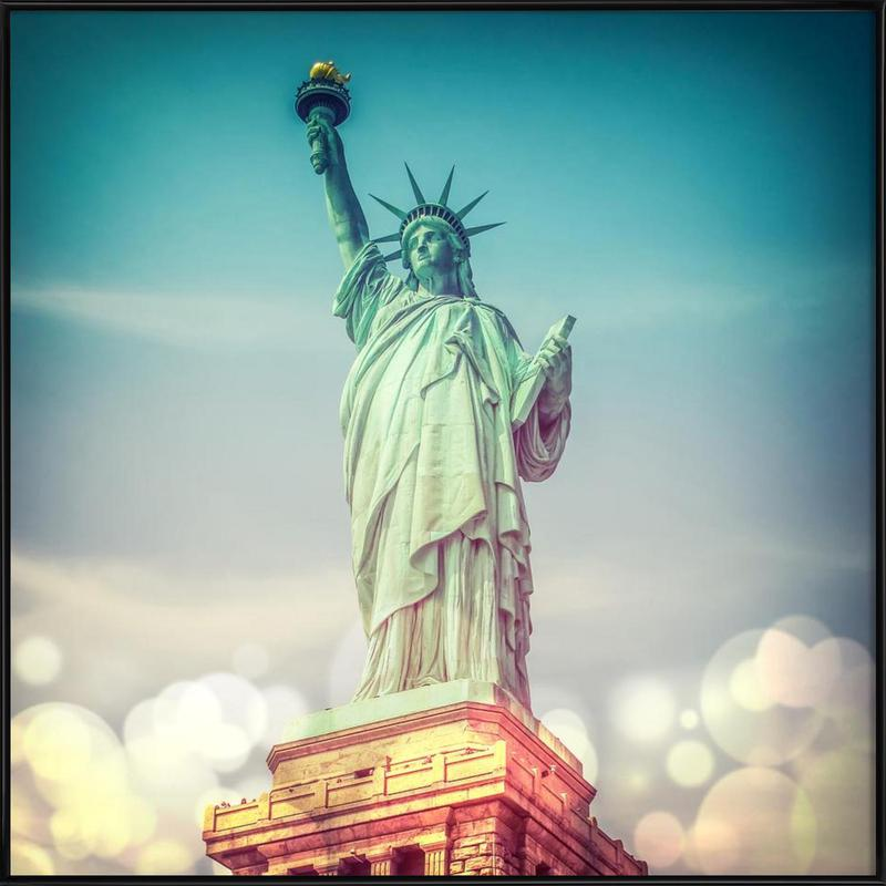Vintage Statue of Liberty -Bild mit Kunststoffrahmen