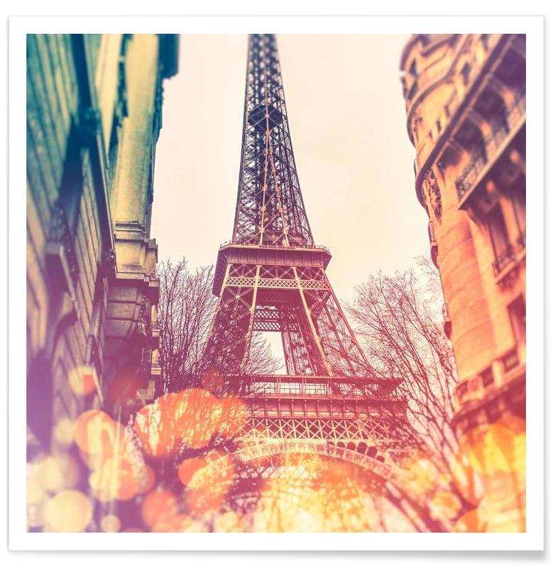 Paris, Monuments et vues, Vintage Eiffel Tower affiche
