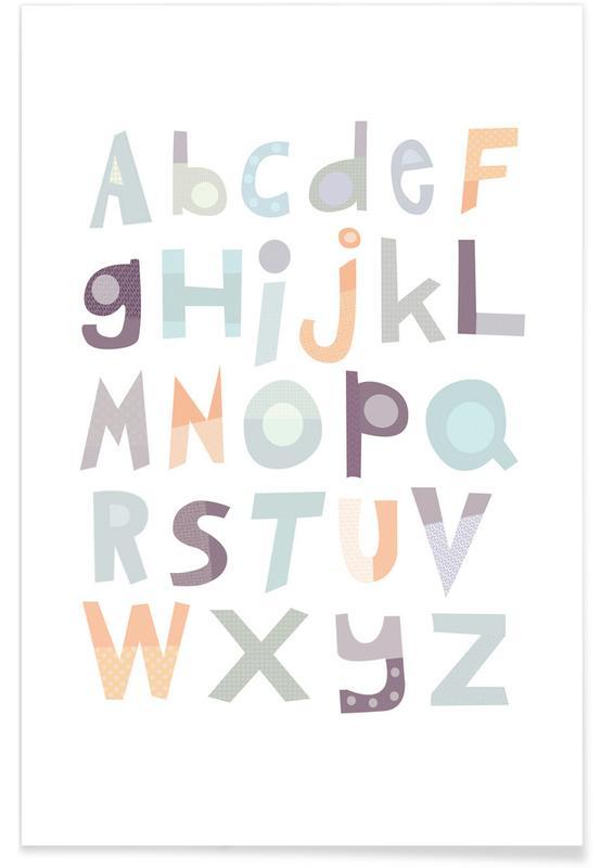 Alfabet en letters, Kunst voor kinderen, Alphabet Pale poster