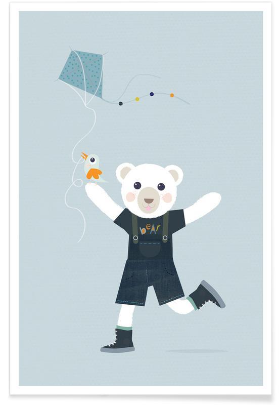 Ours, Art pour enfants, Bear Kite affiche