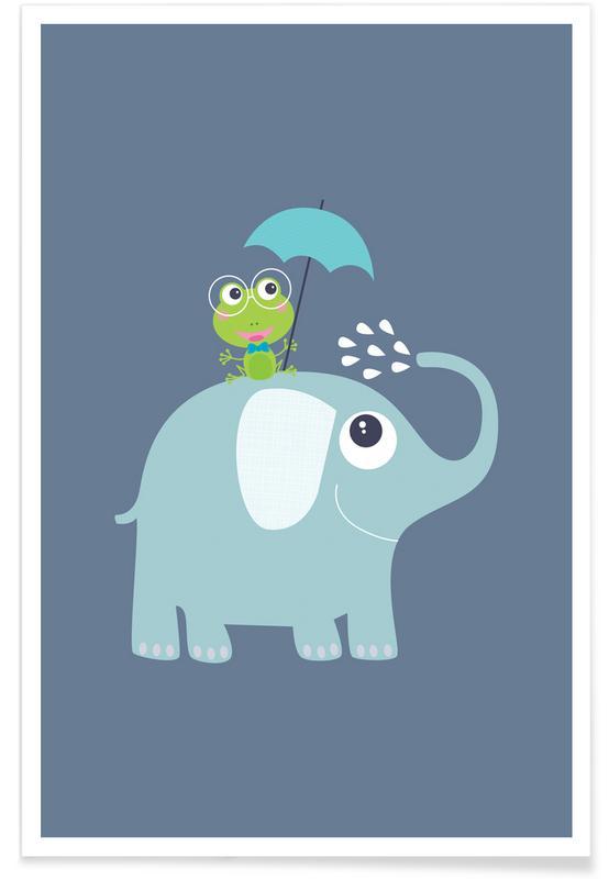 Elefanten, Kinderzimmer & Kunst für Kinder, Elephant Frog -Poster