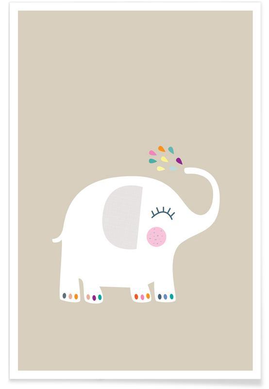 Éléphants, Art pour enfants, Elephant Rainbow affiche