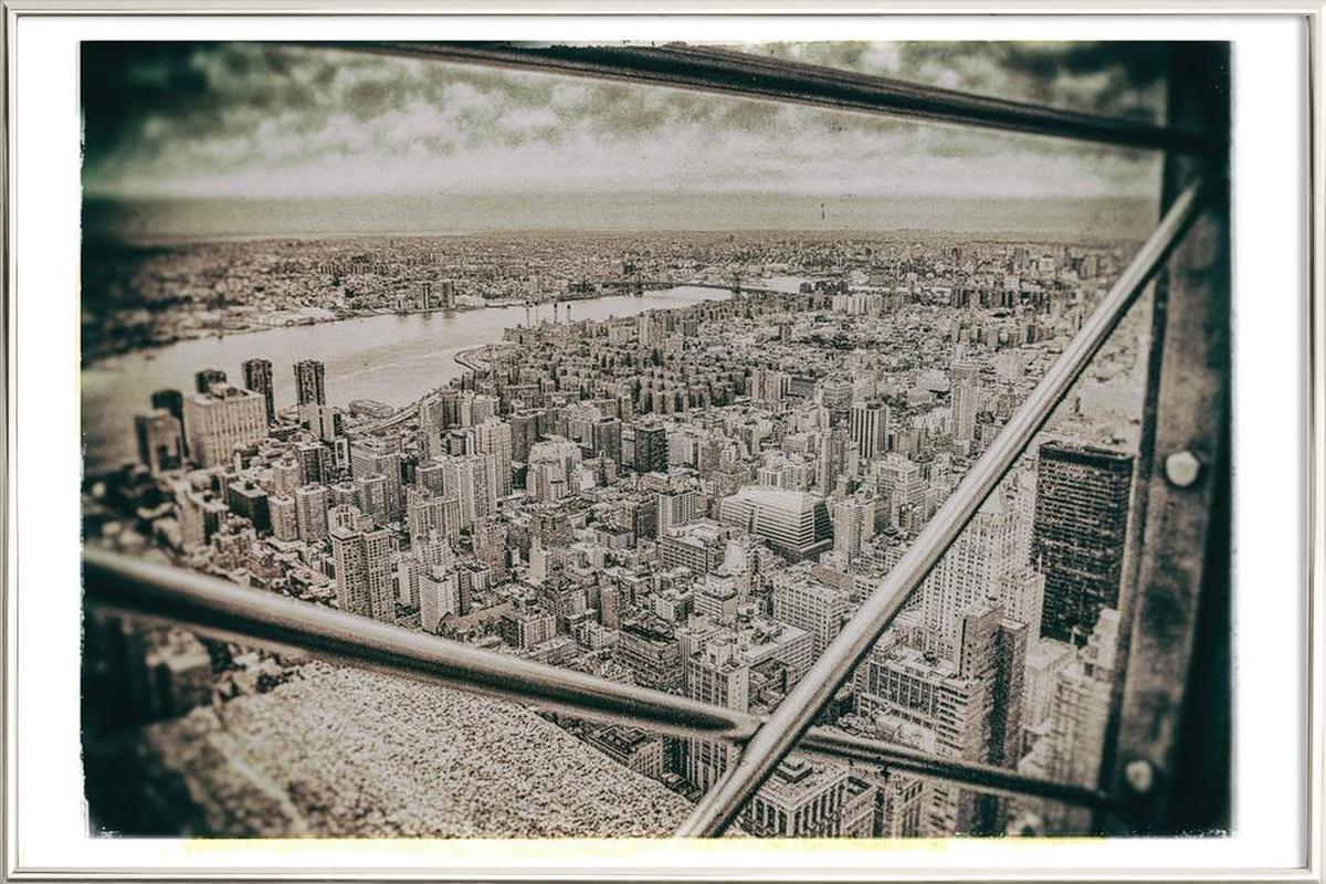 New York From the Empire State building poster in aluminium lijst