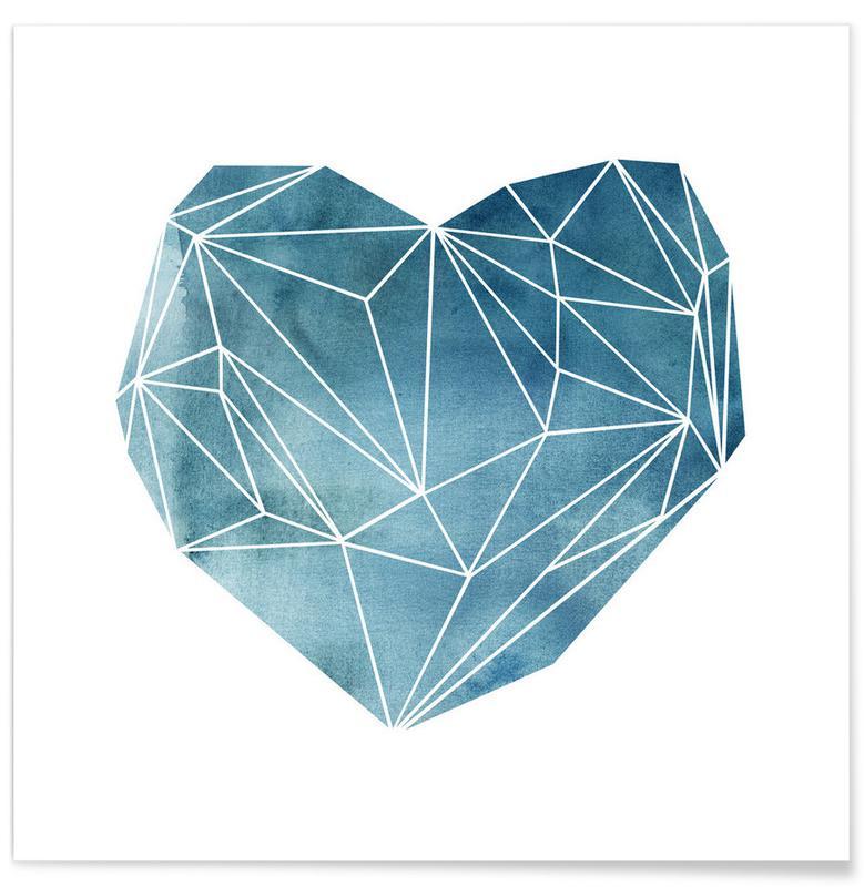 Fête des pères, Cœurs, Anniversaires de mariage et amour, Heart Graphic Watercolor Blue affiche