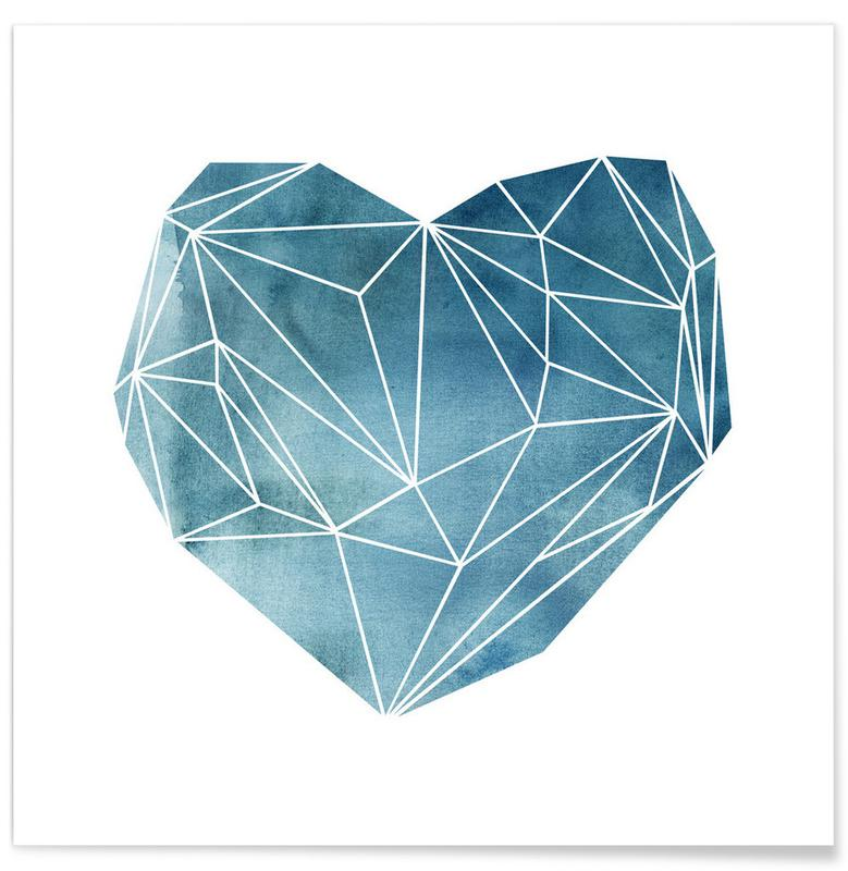 Heart Graphic Watercolor Blue -Poster
