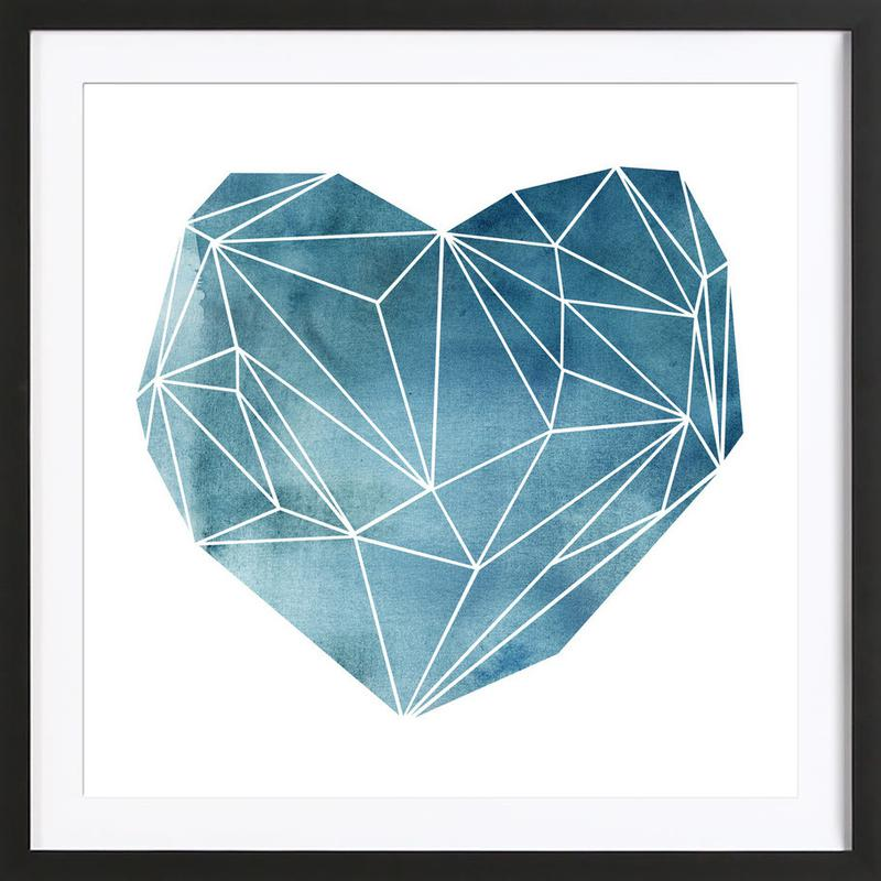 Heart Graphic Watercolor Blue Framed Print