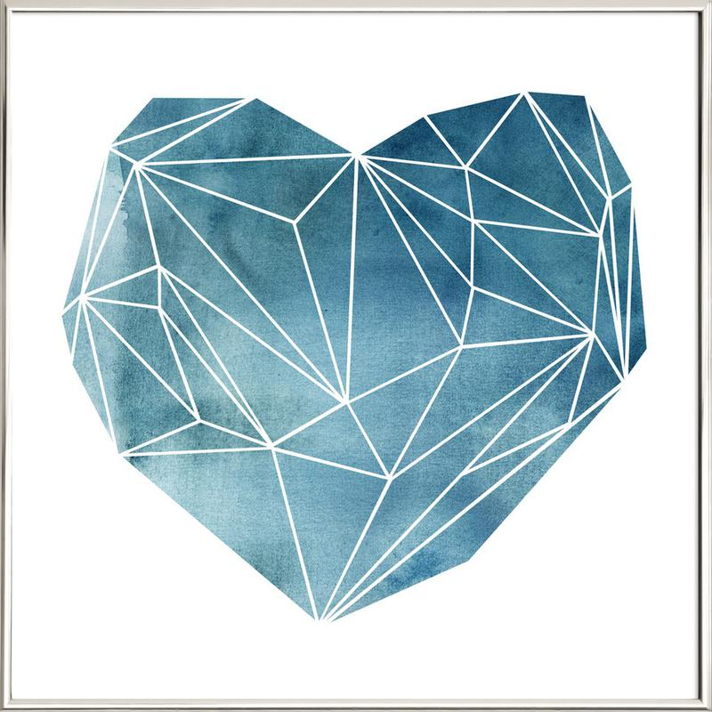 Heart Graphic Watercolor Blue Poster in Aluminium Frame