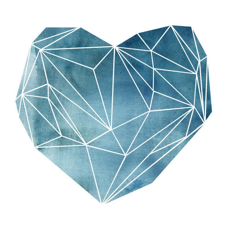 Heart Graphic Watercolor Blue Canvas Print