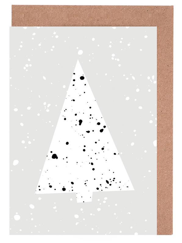 Schwarz & Weiß, Weihnachten, Christmas Tree 2 -Grußkarten-Set