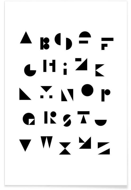 Alphabet et lettres, Noir & blanc, ABC affiche