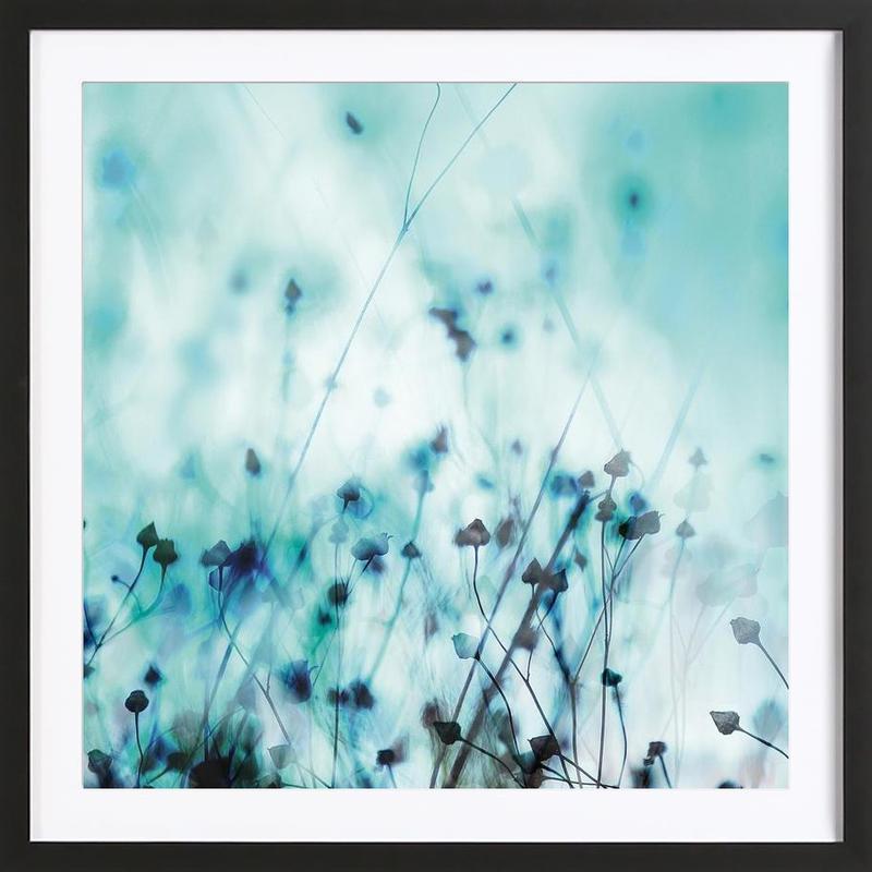 Blue ingelijste print