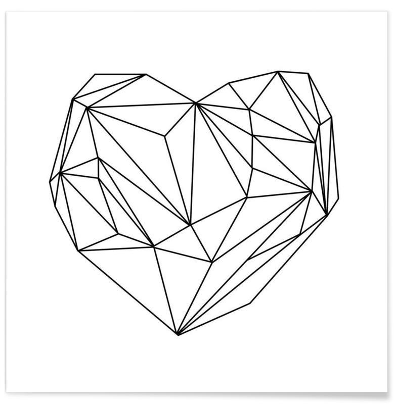 Sort & hvidt, Heart Graphic Plakat