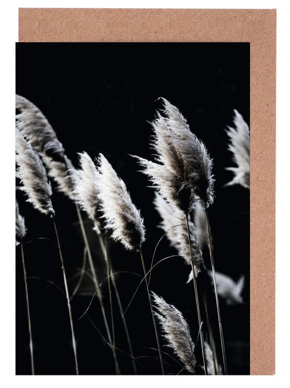 Black & White, Leaves & Plants, Grass 4 Greeting Card Set